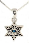 Silver and Opal Star of David Hamsa Necklace
