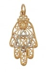 Gold Filled Two tone Hamsa Star of David Pendant