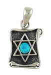 Silver and Opal Star of David Scroll Pendant