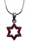 Star of David with red stones Rhodium Necklace