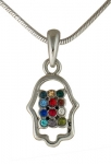 Hamsa Breastplate Rhodium Necklace
