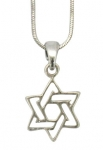 Rhodium Star of David Necklace