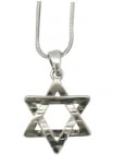 Rhodium Star of David Pendant Necklace