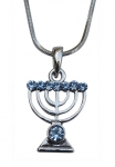 Rhodium Silver Menorah Pendant Necklace