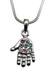 Rhodium Hamsa Necklace with multicolor stones