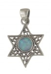 Silver and Opal Filigree Star of David Pendant