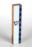 Shades of Blue with Pomegranate Mezuzah by Dorit