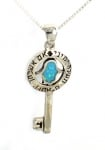 Silver and Opal Hamsa Key Pendant