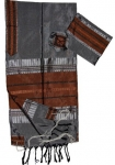 Gabrieli Silk Tallit Set   Gray and Copper
