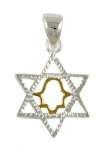 Silver Star of David Two tone Pendant with hamsa