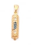 Gold Filled Oriental style Mezuzah Pendant with zircon