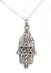 Sterling Silver Hamsa with Star of David Pendant