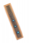 Wood Mezuzah with blue Glass Decorations