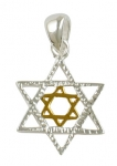 Silver Star of David Two tone Pendant