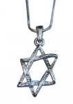 Classic Textured Star of David Rhodium Necklace