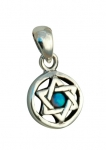 Silver and Opal Star of David Circle Pendant