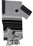 Gabrieli Cotton Tallit Set   Gray with Black