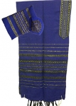 Gabrieli Wool Tallit Set   Blue with Black and Gold stripes