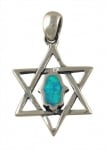Silver and Opal Hamsa Pendant   Star of David