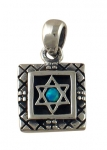Silver and Opal Star of David Square Pendant