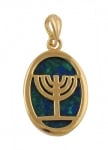 Gold Filled Azorite Menorah Pendant