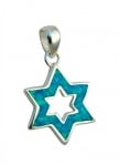Silver and Opal Outline Design Star of David Pendant