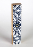 Black White Fleur de Lys Wood Mezuzah Case by Dorit