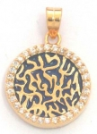 Gold Filled Round Blue Enamel Zircon Shema Pendant