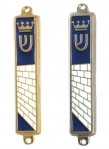 Blue White Western Wall Mezuzah Case