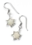 Pearl color Star of David Earrings