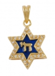 Gold Filled Blue Enamel Star of David Pendant