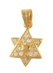 Gold Filled Cubic Zirconium 2 Star of David Pendant