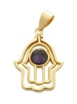 Gold Filled Amethyst Hamsa Pendant