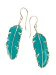 Small Turquoise Paradisaea Feather Earrings