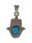 Contemporary Silver and Opal Hamsa Pendant
