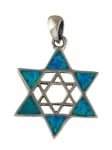 Silver and Opal Double Star of David Pendant