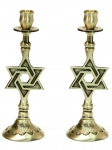 Star of David Brass Candlesticks