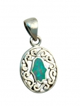 Oval Silver and Opal Hamsa Pendant