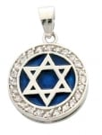 Star of David Blue Enamel Pendant