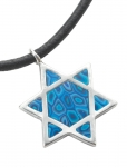 Blue Star of David on Leather Cord Necklace