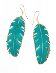 Large Turquoise Paradisaea Feather Earrings