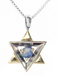 Sterling Silver Gold and Opal Star of David Pendant