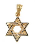 Gold Filled Zirconium Star of David Pendant with Blue Enamel