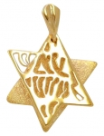 Gold Filled Shema Star of David Pendant