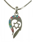 Star of David Heart Rhodium Necklace