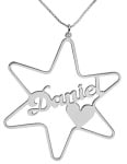 Silver Cursive English Name Necklace   Star of David