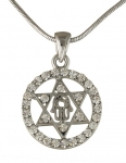 Hamsa Star of David Rhodium Necklace