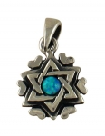 Silver and Opal Star of David Heart Pendant