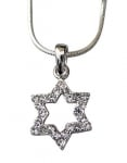 Star of David with white stones Rhodium Necklace