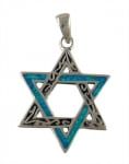 Silver and Opal Interlocking Star of David Pendant